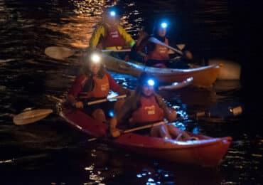 Ruta en kayak de noche