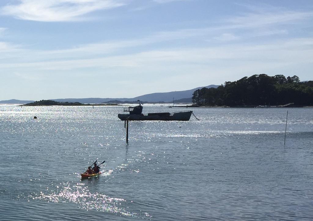 Entre la isla de Cortegada y el puerto de Carril se asienta un buque antiguo.